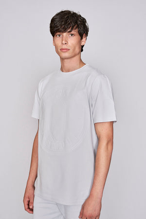 Light grey logo embossed slim fit t-shirt - H E R M A N O