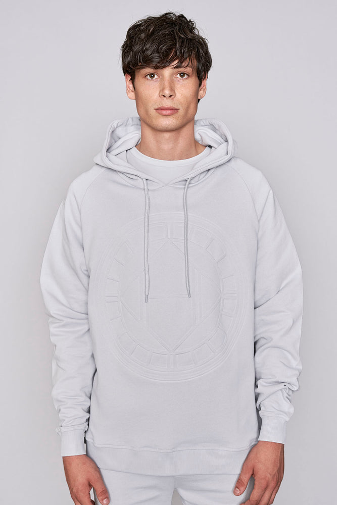Light grey logo embossed regular fit hoodie - H E R M A N O