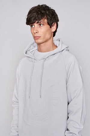Load image into Gallery viewer, Light grey logo embossed regular fit hoodie - H E R M A N O