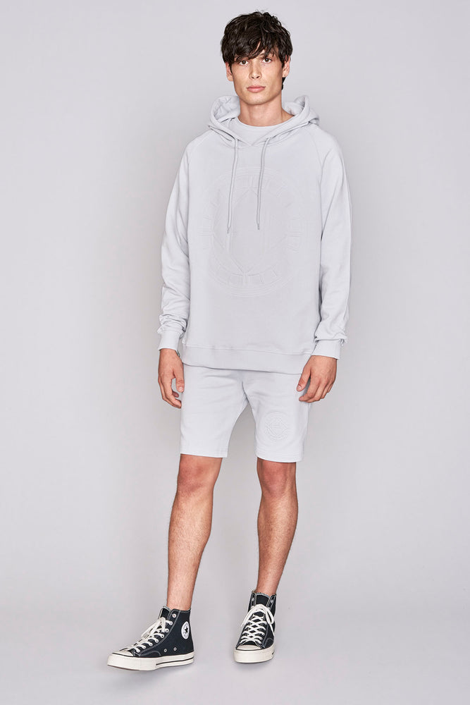 Light grey logo embossed shorts - H E R M A N O