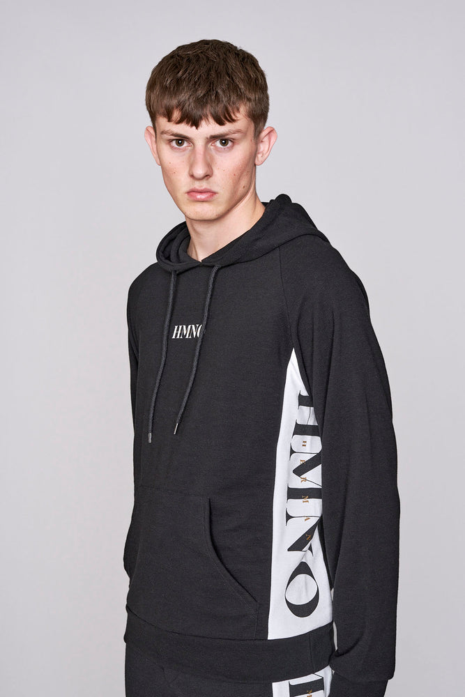 Black logo taped regular fit hoodie - H E R M A N O