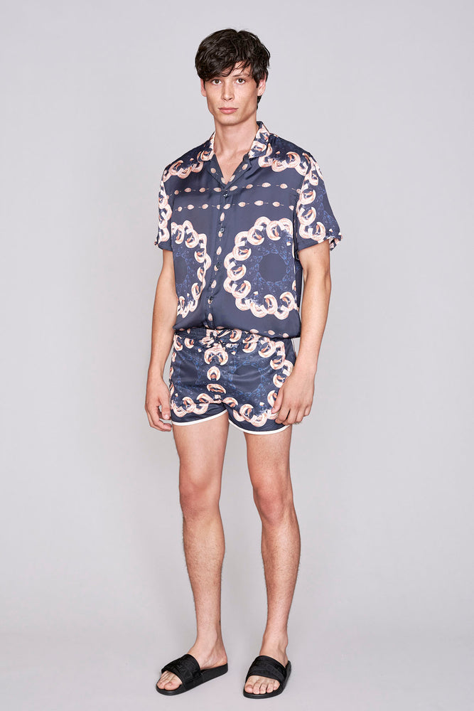 Load image into Gallery viewer, Black ram print racer swim shorts - H E R M A N O