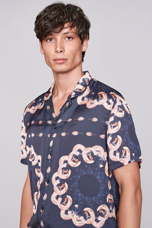 Load image into Gallery viewer, Black ram print short sleeve slim fit shirt - H E R M A N O