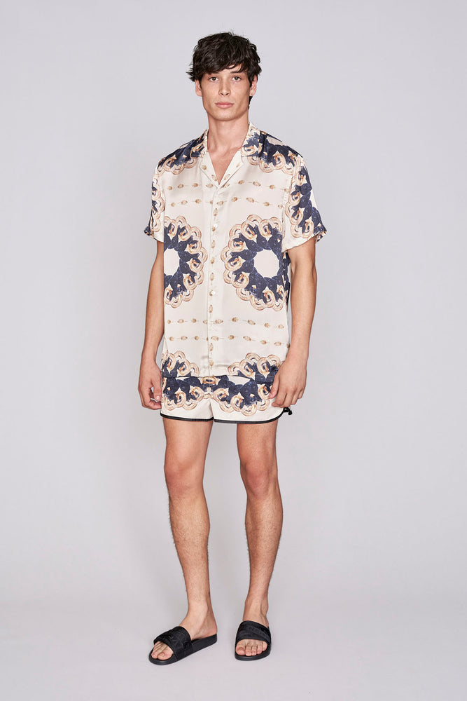 Load image into Gallery viewer, White ram print racer swim shorts - H E R M A N O