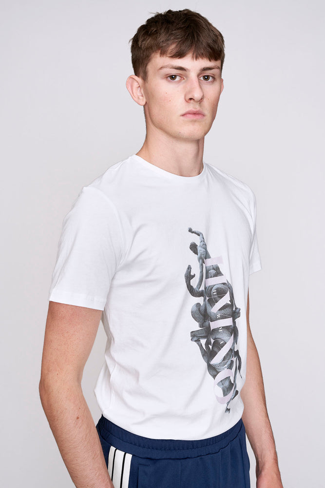 Load image into Gallery viewer, White greek statue print slim fit t-shirt - H E R M A N O