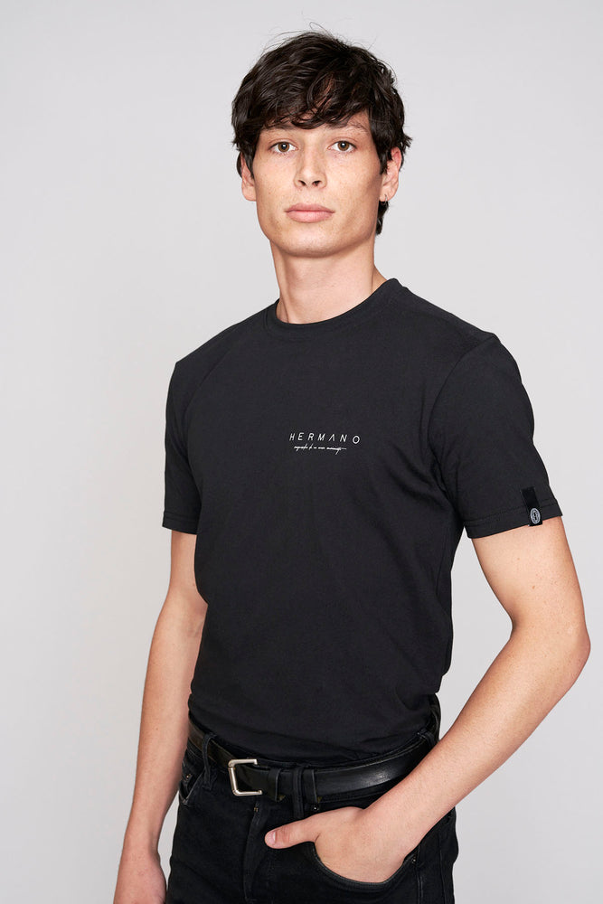 Load image into Gallery viewer, Black script print slim fit t-shirt - H E R M A N O