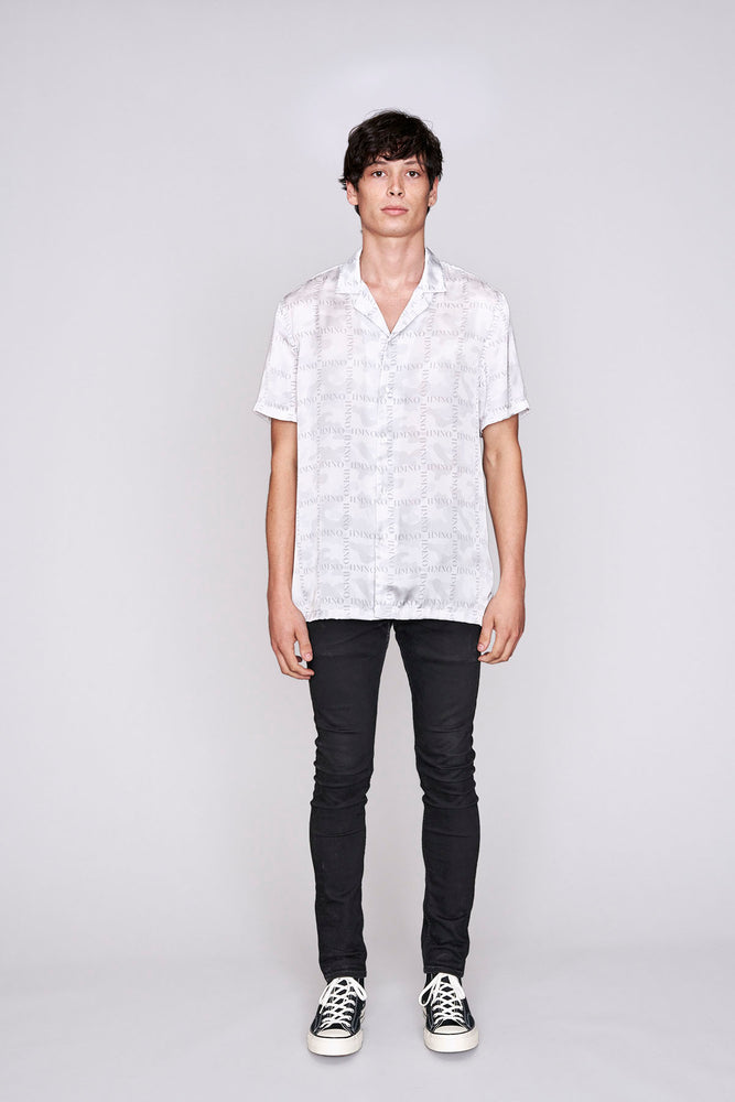 White camo print short sleeve slim fit shirt - H E R M A N O