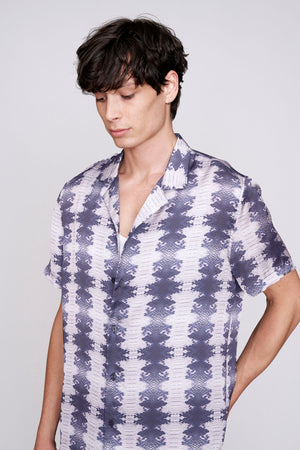 Grey snake print short sleeve slim fit shirt - H E R M A N O