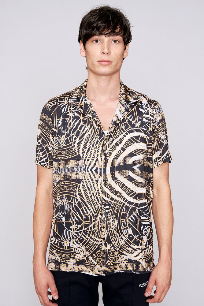 Black zebra print revere collar slim fit shirt - H E R M A N O