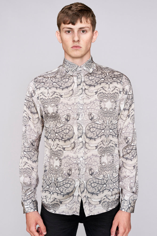 Load image into Gallery viewer, White snake print long sleeve slim fit shirt - H E R M A N O