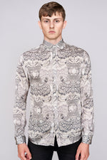 White snake print long sleeve slim fit shirt - H E R M A N O