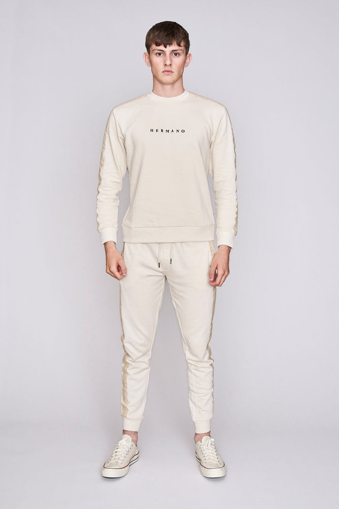 Cream mosaic taped regular fit sweatshirt - H E R M A N O