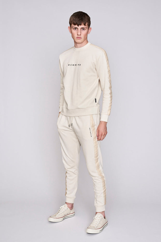 Cream mosaic taped regular fit joggers - H E R M A N O