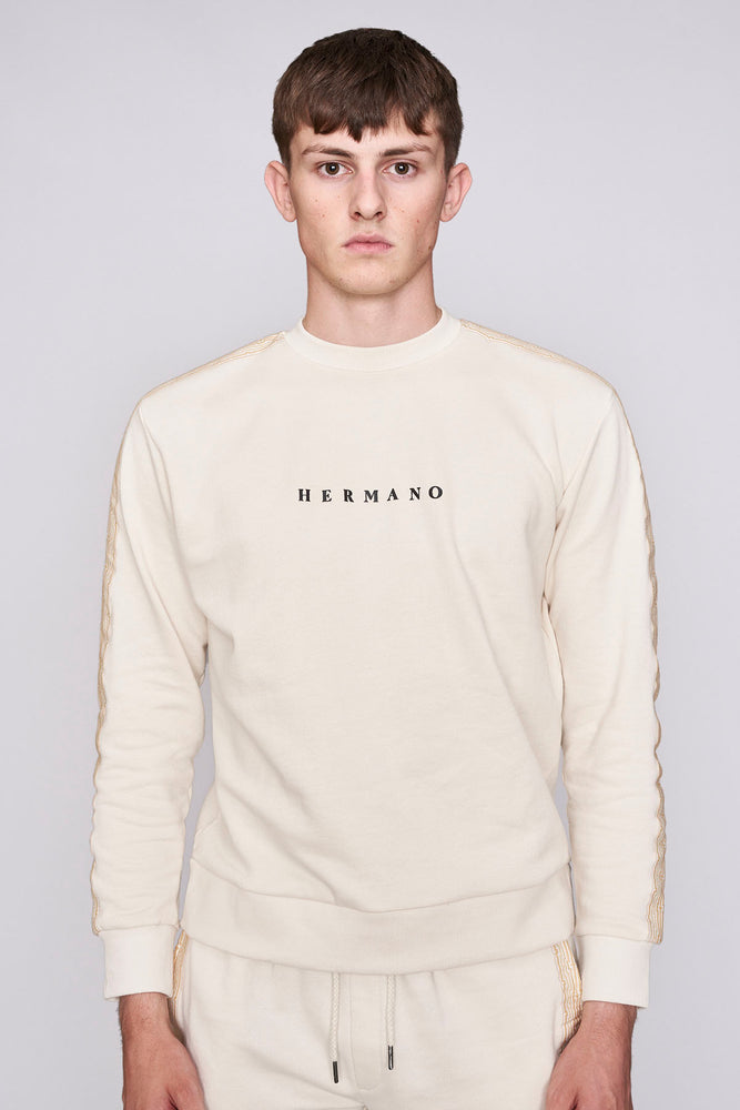 Load image into Gallery viewer, Cream mosaic taped regular fit sweatshirt - H E R M A N O