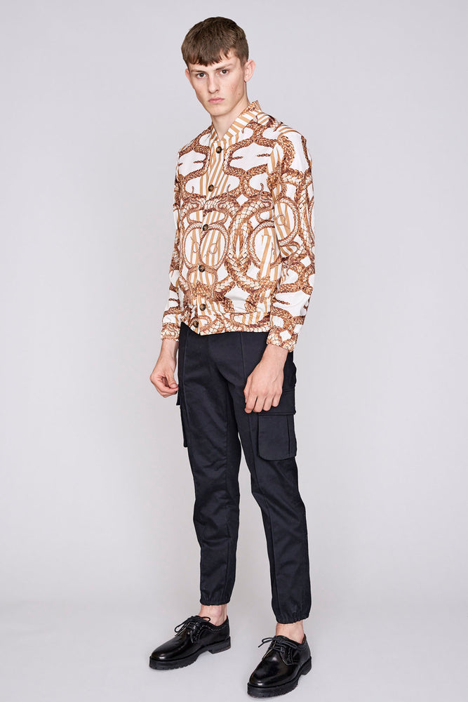 Load image into Gallery viewer, White and gold snake stripe print bomber jacket - H E R M A N O