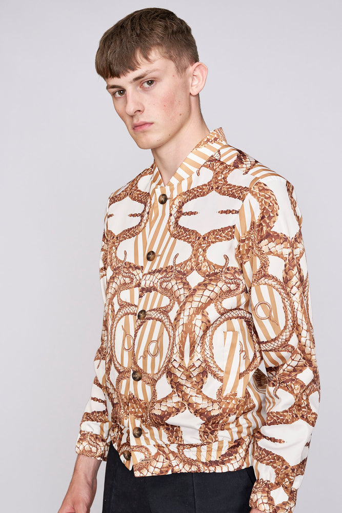 White and gold snake stripe print bomber jacket - H E R M A N O