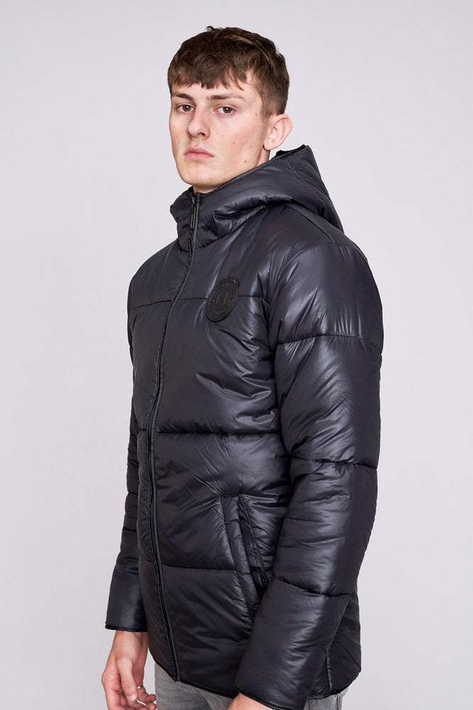 Black Hooded Puffer Jacket - H E R M A N O