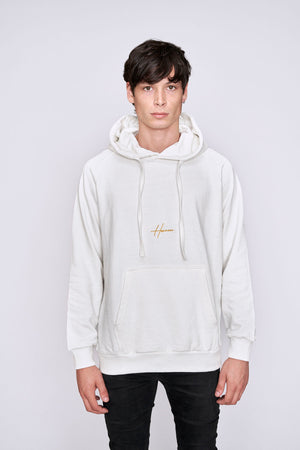 White Embroidered Logo Regular Fit Hoodie - H E R M A N O