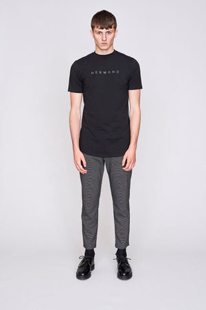Load image into Gallery viewer, Black Hermano print slim fit t-shirt - H E R M A N O