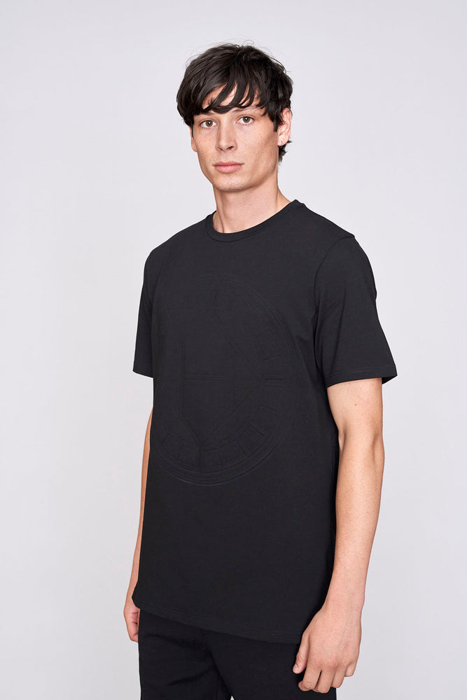 Black logo embossed slim fit t-shirt - H E R M A N O