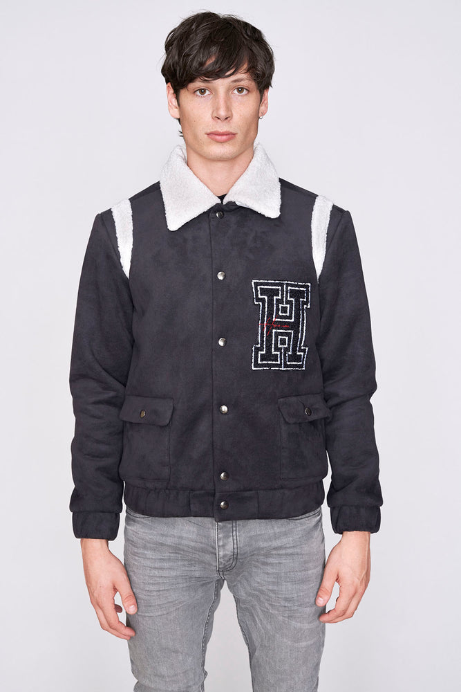 Load image into Gallery viewer, Black borg collar varsity jacket - H E R M A N O
