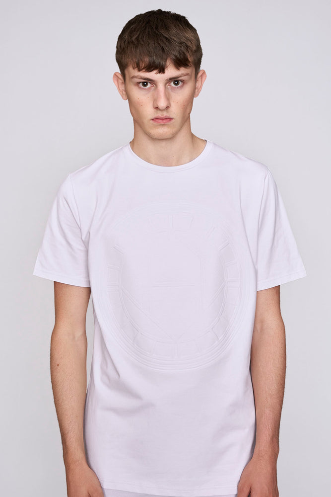 Pink logo embossed slim fit t-shirt - H E R M A N O