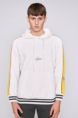 White contrast taped regular fit hoodie - H E R M A N O