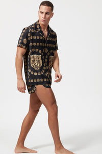 HERMANO TIGER PRINT SHORT SLEEVE CUBAN SHIRT	BLACK/GOLD - H E R M A N O