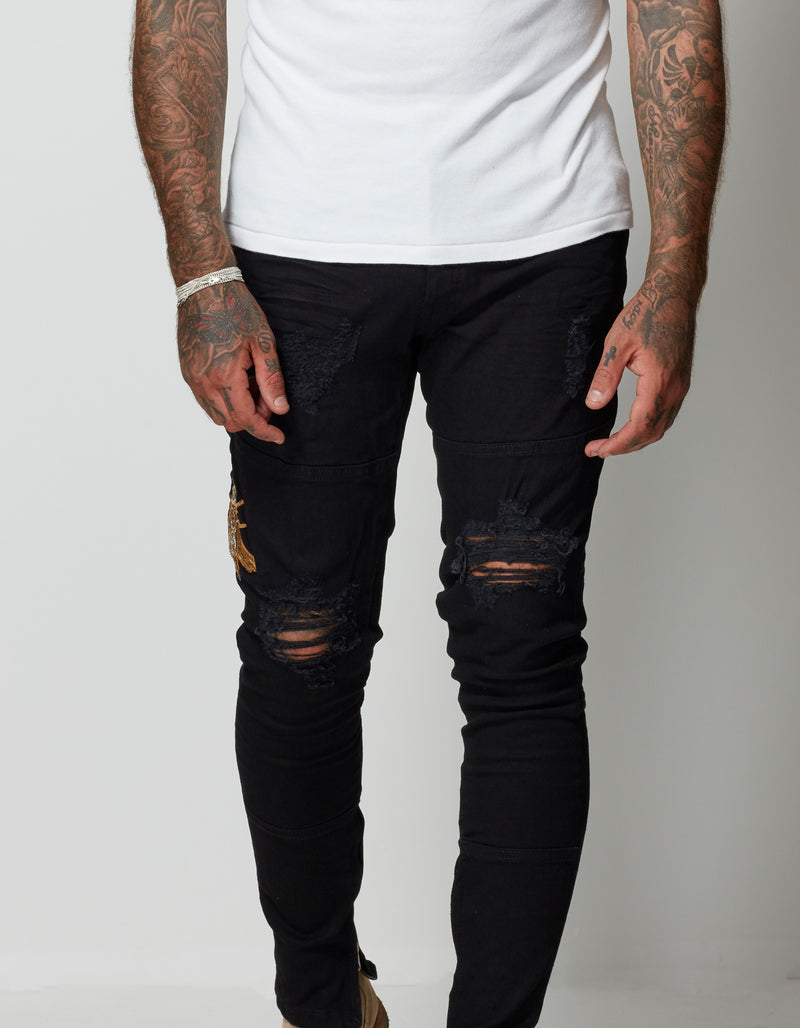 DENIM EMBROIDERED JEANS (BEE)