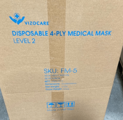 Disposable Surgical Mask, Level-2 4-Ply - pack of 50 (FM-5B) Face Masks Vizocom