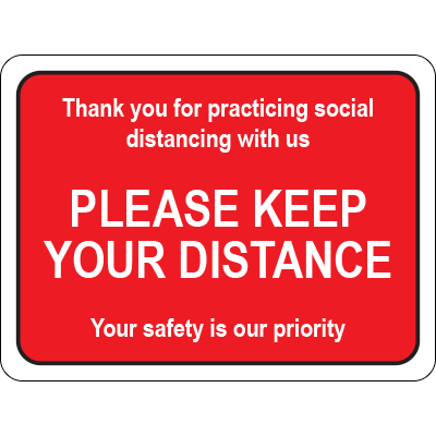 PF Please Keep Your Distance Red Rectangle Floor Sign Signage Graphic Products