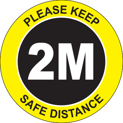 Please Keep Safe Distance 2M Circle Floor Sign Signage Graphic Products