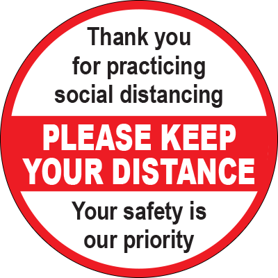 Please Keep Your Distance Red/White Circle Floor Sign Signage Graphic Products