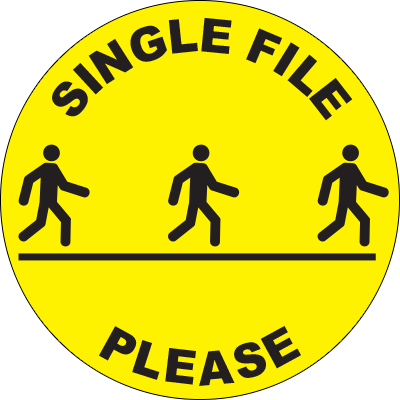 "Single File Please Circle Floor Sign 32"" X 32"" Signage Graphic Products"