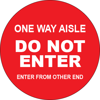 "Do Not Enter One Way Aisle Circle Floor Sign 32"" Signage Graphic Products"