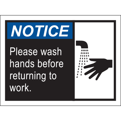 Notice Please Wash Hands Before Returning to Work Poster Awareness Posters Graphic Products