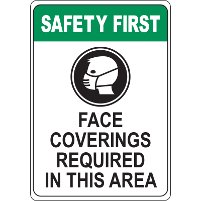 Face Coverings Required in This Area Sign Signage Graphic Products