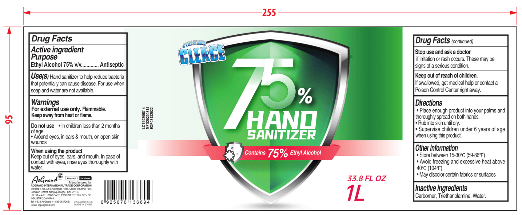 Hand Sanitizer - 1L (33.8 oz) – Case of 15 (CS-10) Sanitizers Vizocom