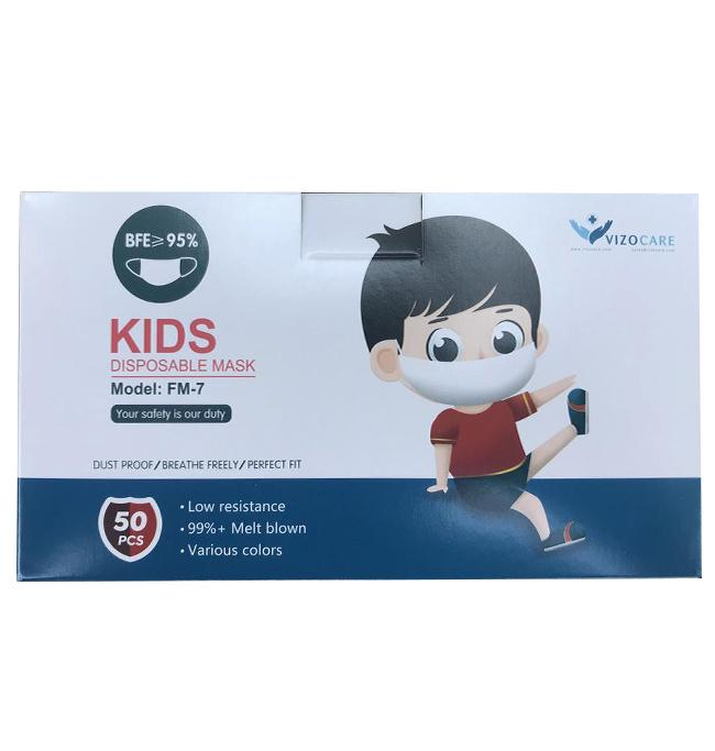 Disposable Child Face Mask, 3-Ply - Box of 50 (FM-7) Face Masks Vizocom