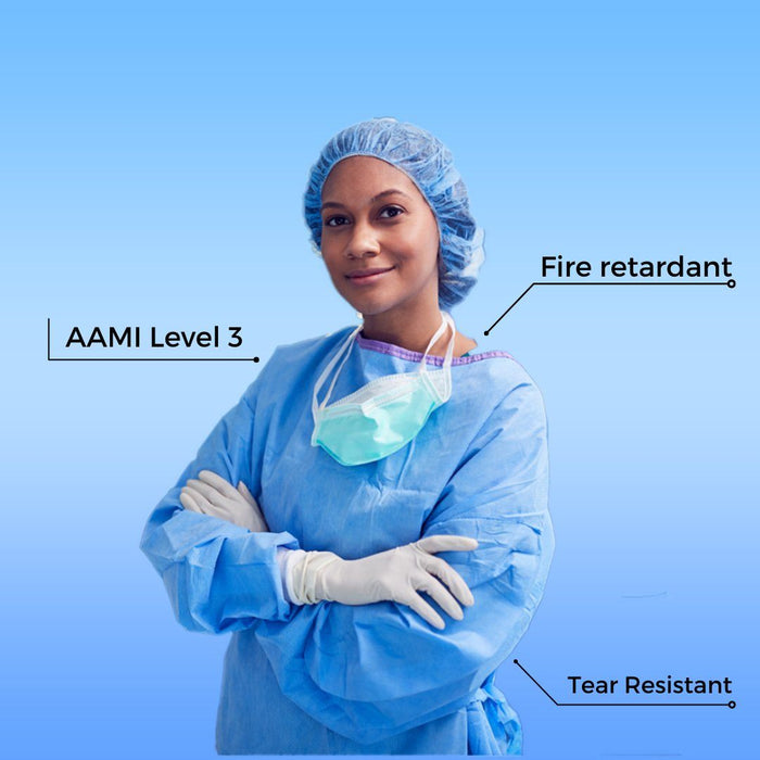 Disposable isolation gown, Level 3 - pack of 10 (DG-8) Gowns & Coveralls Vizocom
