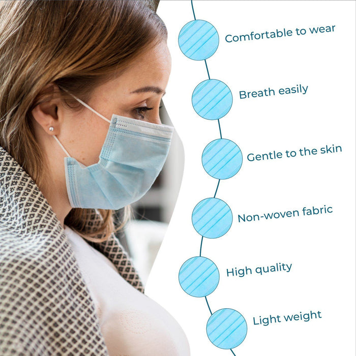 Disposable Face Mask, 3-Ply - Box of 50 (FM-4) Face Masks Vizocom