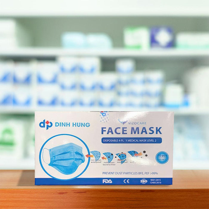 Disposable Mask, Level-2, 4-Ply - pack of 50 (FM-5B) Face Masks Vizocom