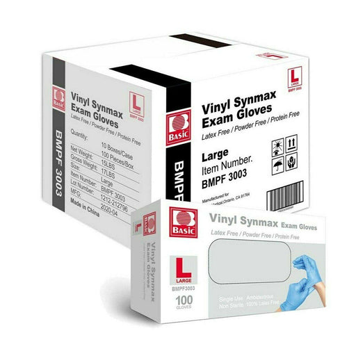 Synmax Vinyl Hybrid Medical Exam Gloves Box of 100 (MG-5) Medical Gloves Vizocom