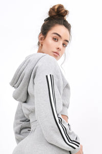 2019 Side Stripe Cropped Hoodie - Grey