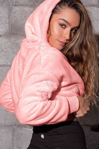 Super Soft Faux-Fur Drawstring Cropped Hoodie - Soft Neon Coral