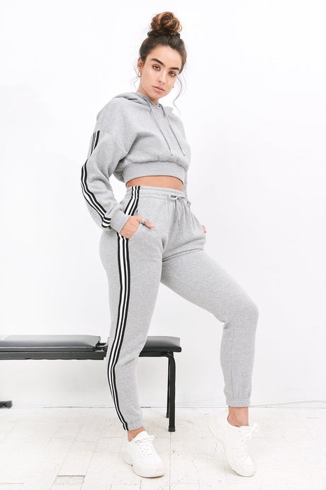 2019 High-Rise Side Stripe Jogger - Grey