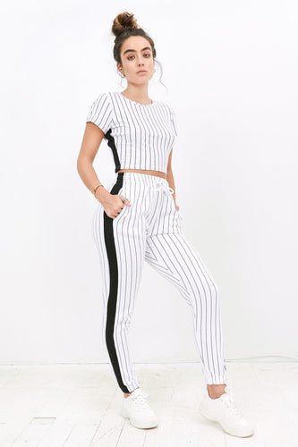 2019 High-Rise Side Stripe Jogger - White
