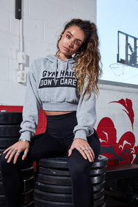 "Graphic Cropped Hther Grey ""Gym Hair Don't Care"" Fleece Drawstring Hoodie"