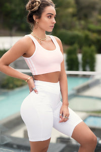 Butt Lift Biker Short White