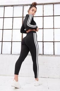 2019 High-Rise Side Stripe Cropped Legging - Black